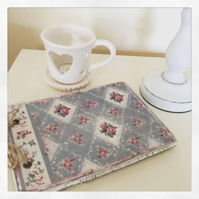 Vintage Fabric Covered Notebook- Shabby Chic Style